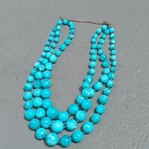 Blue  fashion beaded 3 strand necklace